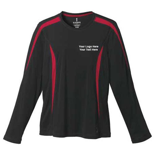 Custom Printed Womens Kemah Long Sleeve Tech Tee Black Team Red