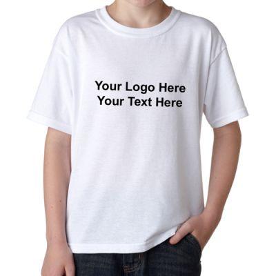 Custom Imprinted Gildan Youth DryBlend White T-Shirts