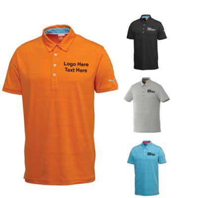 Custom Imprinted Men's Golf Barcode Stripe Short Sleeve Polo Shirts