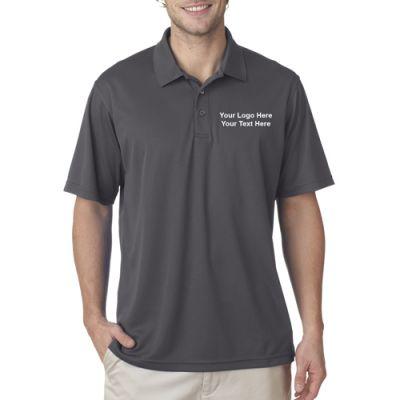 Custom printed ultraclub men 39 s cool and dry mesh piqu for Custom t shirts canada no minimum