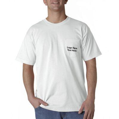 Promotional Bayside Adult Short-Sleeve White T-Shirts with Pocket