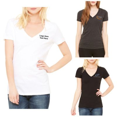 Promotional Bella Canvas Ladies' Jersey Short-Sleeve Deep V-Neck T-Shirts