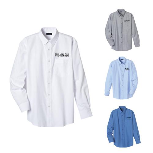 Custom imprinted men 39 s oxford long sleeve shirts long sleeve for Personalized long sleeve t shirts
