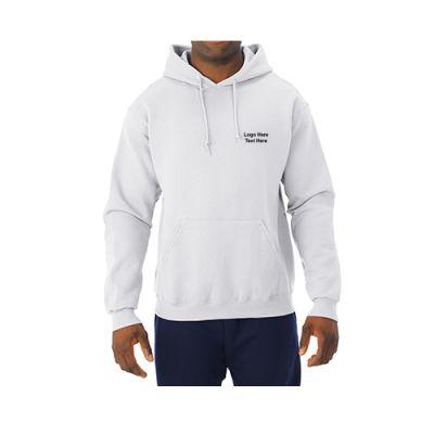 Custom Printed Jerzees NuBlend Hooded White Sweatshirts