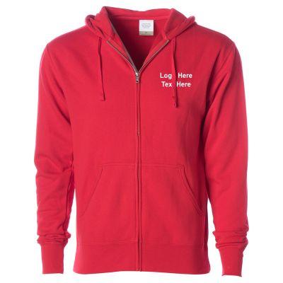 Custom Printed Men's Lightweight Zip Hooded Sweatshirt