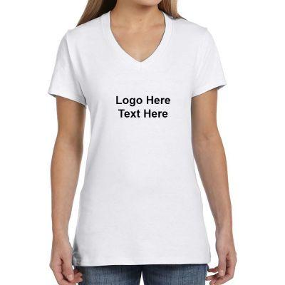 Custom Hanes Ladies V-Neck Nano-T Cotton Short Sleeve White T-Shirts