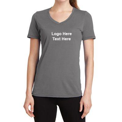 48287124 Custom Logo Port and Company Ladies V-Neck Performance T-Shirts ...