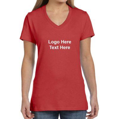 868250e1fb1d0e Custom Printed Hanes Ladies V-Neck Nano-T Cotton Short Sleeve T ...