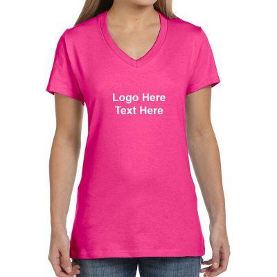 Custom printed hanes ladies v neck nano t cotton short Custom printed women s t shirts