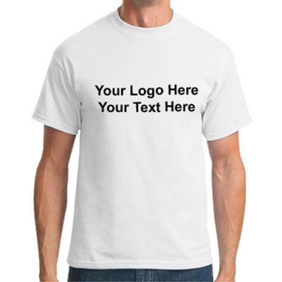 Promotional Logo Port and Company Men's Short Sleeve White T-Shirts