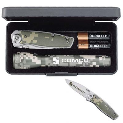Custom Printed Mini MagLite with Digital Camo Knife