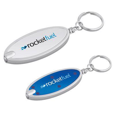 Custom Printed Oval Shaped Flashlight Keychains