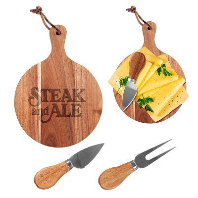 Custom Printed Mini Round Cheese Board and Knife Sets