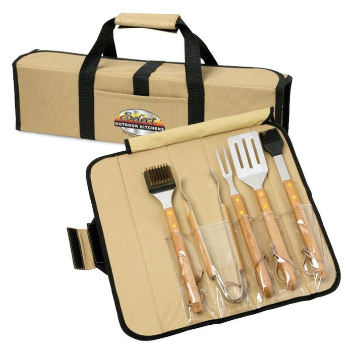 5 Piece Bamboo BBQ Sets in Roll-Up Case