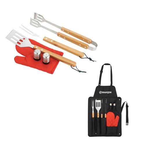 customized 3 piece bbq set with apron