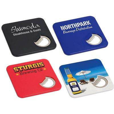 Custom Imprinted Deluxe Combo Bottle Openers and Coasters
