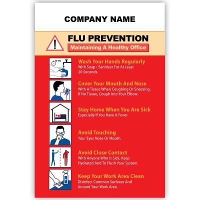 4x6 Customized Flu Prevention Magnets 25 Mil Square Corners