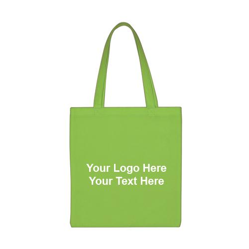 13.5x14 Custom Non Woven Economy Tote Bags Lime Green