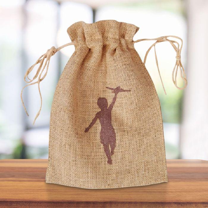 Custom Printed Small Natural Drawstring Jute Tote Bags