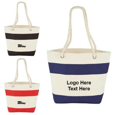 Promotional Capri Stripes Cotton Shopper Tote Bags
