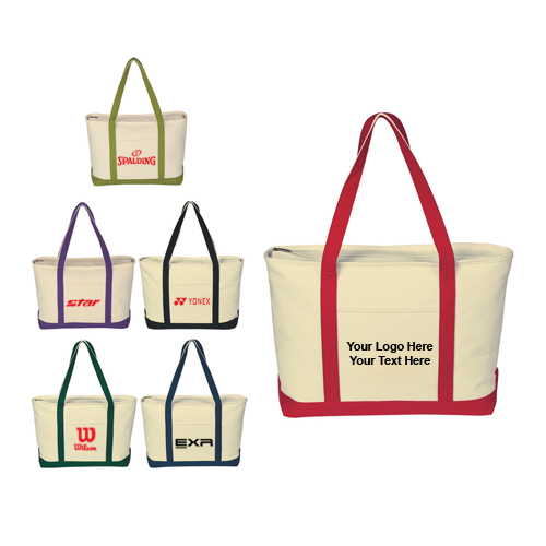 Custom Large Heavy Cotton Canvas Boat Tote Bags
