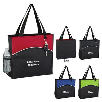 Custom Imprinted Crescent Pocket Tote Bags