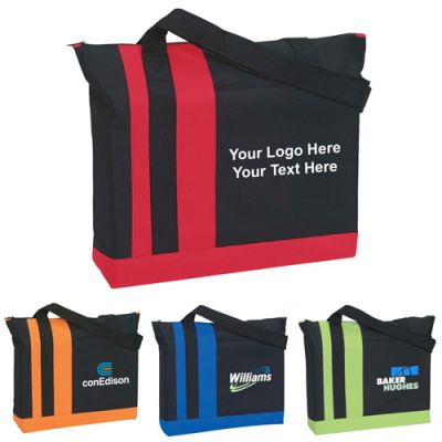 Custom Printed Tri-Band Polyester Tote Bags