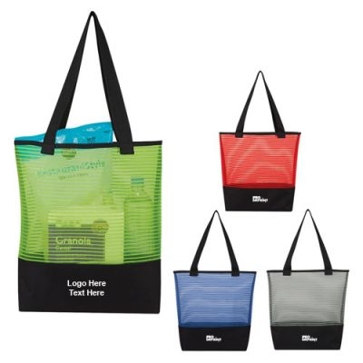 Customized Sheer Mesh and Polyester Pinstripe Tote Bags