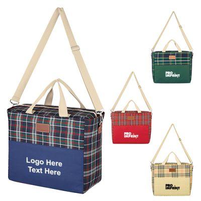 Promotional Tartan Hefty Kooler Tote Bags