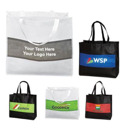 Personalized Non-Woven Stripe Tote Bags