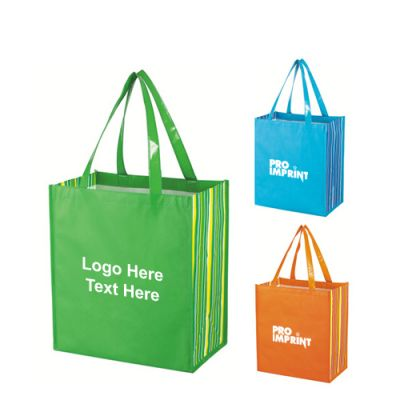 Custom Shiny Laminated Non-Woven Tropic Shopper Tote Bags
