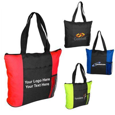 Logo Imprinted All Purpose Zippered Tote Bags