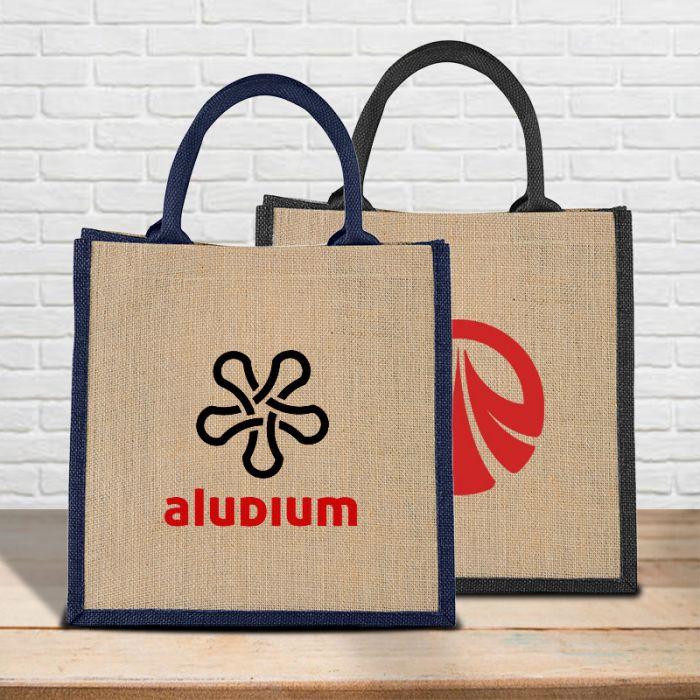 Custom Imprinted Medium Jute Gift Tote Bags Imprinted  Blank  Sample