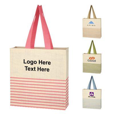 Custom Printed Dash Jute Tote Bags