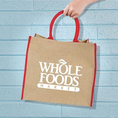 Logo Imprinted Large Jute Tote Bags