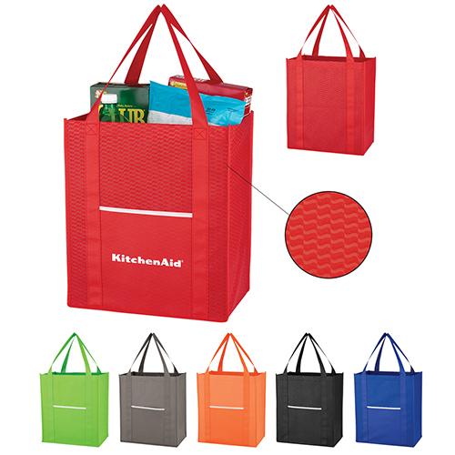 Customized Non-Woven Wave Shopper Tote Bags