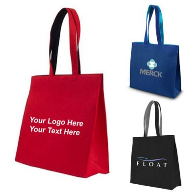 Logo Imprinted Felt Snap Tote Bags