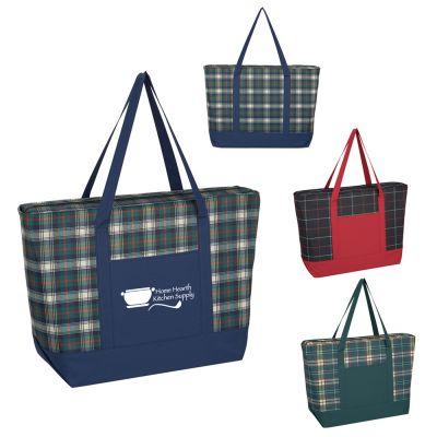 Custom Imprinted Crawford Plaid Tote Bags