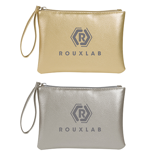 Metallic Glamour Cosmetic Wristlet Bags