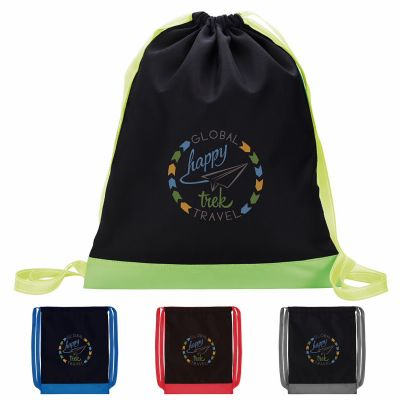 Custom Printed Color Flip Drawstring Backpacks