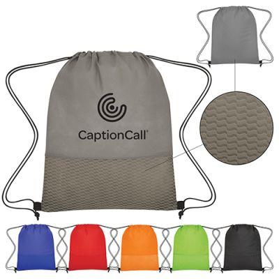 Custom Printed Non-Woven Wave Design Drawstring Bags