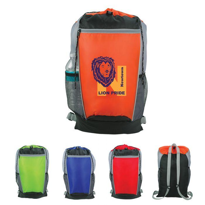 Tri-Color Drawstring Backpacks