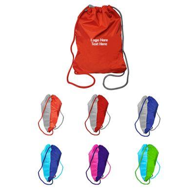 Promotional Logo Two Tone Drawstring Backpacks