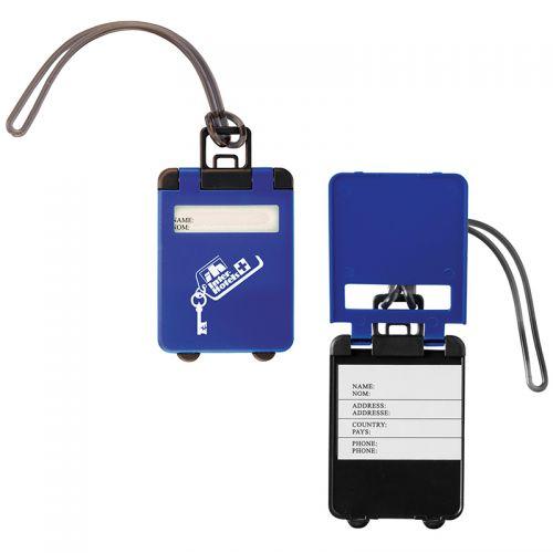 custom imprinted flip open luggage tags