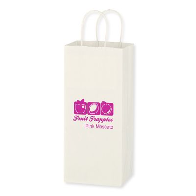 Custom Printed 5.25x13 Inch Kraft White Paper Wine Bags
