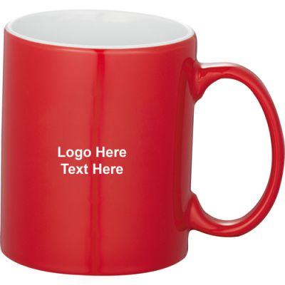 Custom Printed 11 Oz Red Bounty Ceramic Mugs