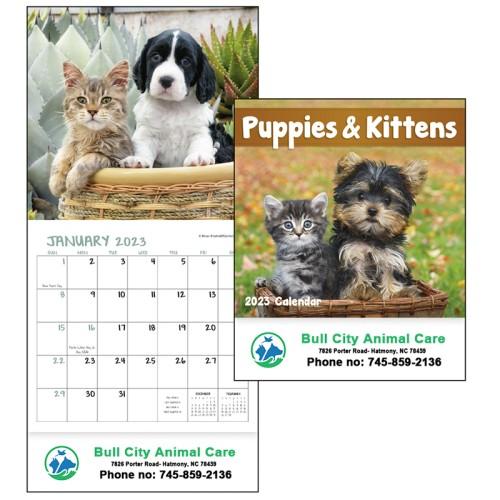 Custom Imprinted 2017 Puppies and Kittens Mini Wall Calendars
