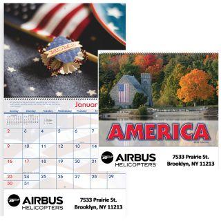 Custom Imprinted 2019 America! Spiral Wall Calendars