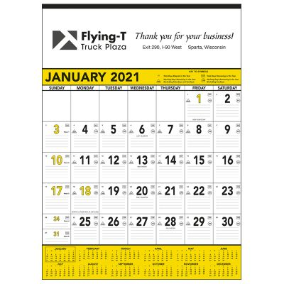custom printed 13 sheet yellow and black contractor memo calendar