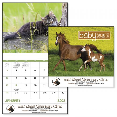 Custom Printed 2019 Baby Farm Animals Stapled Wall Calendars